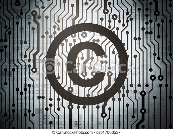 Law concept: circuit board with Copyright - csp17808537