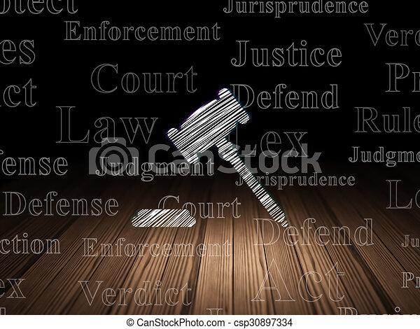 Law concept: Gavel in grunge dark room - csp30897334