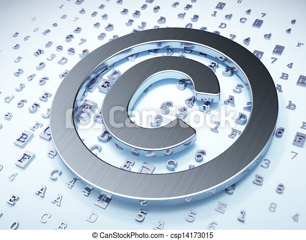 Law concept: Silver Copyright on digital background - csp14173015