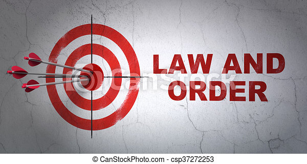 Law concept: target and Law And Order on wall background - csp37272253