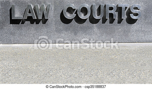 Law Courts sign in stainless steel - csp35188837