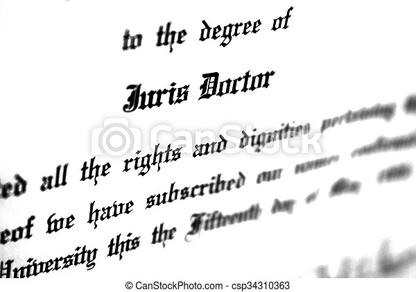 Law degree for juris doctorate. Close up of juris doctorate law ...