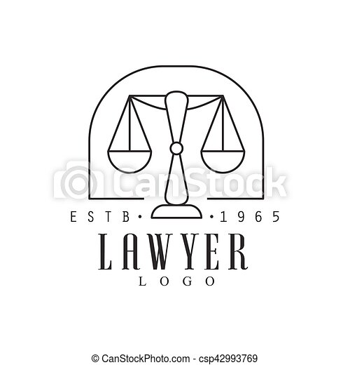 Law Firm And Lawyer Office Black And White Logo Template With Market Balance Justice Symbol Silhouette - csp42993769