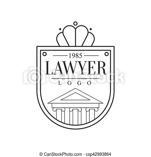 Law firm and lawyer office black and white shield shaped logo ...