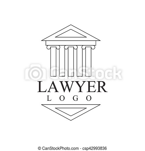 Law Firm And Lawyer Office Black And White Logo Template With Greek Court Building Justice Symbol Silhouette - csp42993836