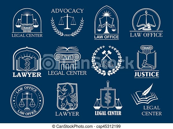 Law firm, legal center and lawyer office badge set - csp45312199