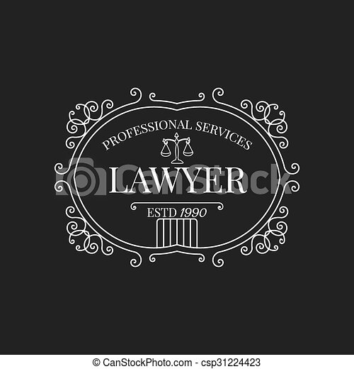 law firm logo lawyer logo with swirls scale and vintage