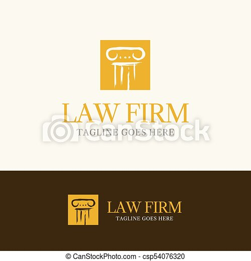 Law firm logo template element symbol with pillar line.