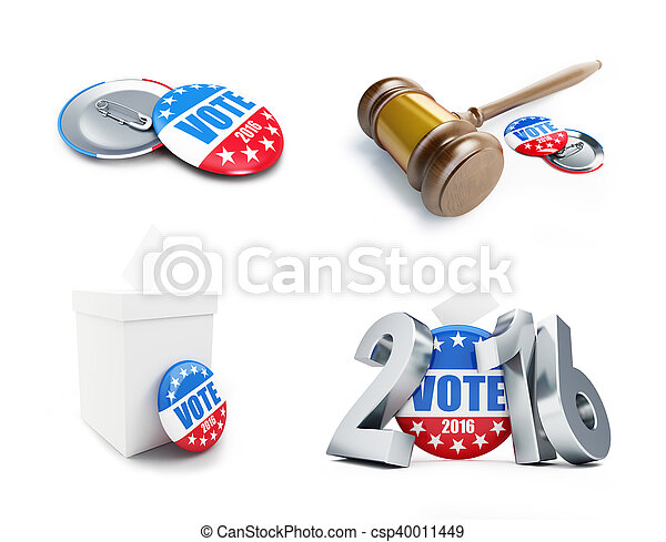 law gavel vote election badge button for 2016. 3d Illustrations on a white background - csp40011449