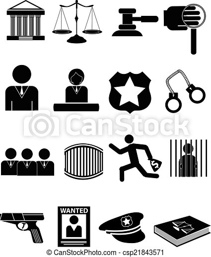 law justice icons set - csp21843571