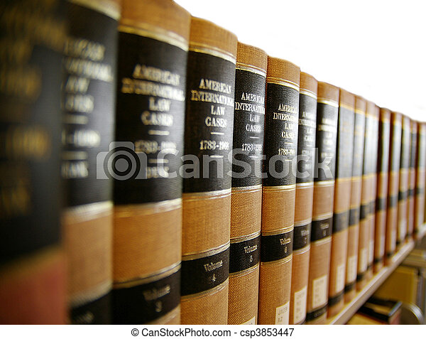 Law / legal books on a book shelf - csp3853447
