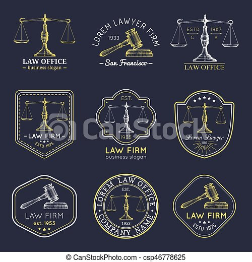 Law office logos set with scales of justice, gavel illustrations. Vector vintage attorney, advocate labels, firm badges. - csp46778625