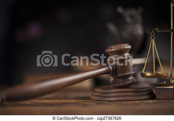 Law theme, mallet of judge, wooden gavel - csp27367626