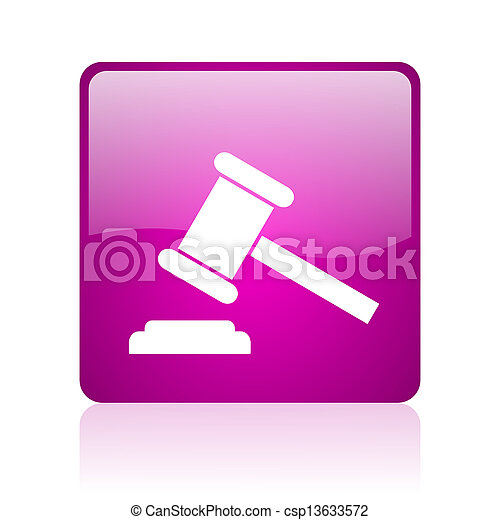 law violet square web glossy icon - csp13633572