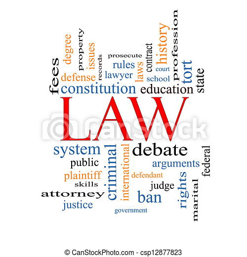 Law Word Cloud Concept With Great Terms Such As Defense