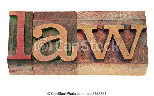 law - word in letterpress type - csp5458784