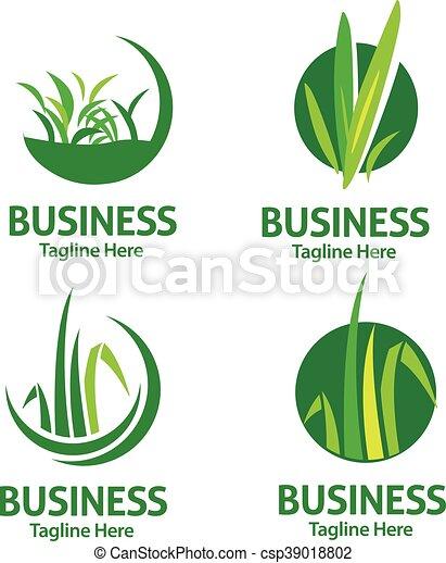 lawn care logo set - csp39018802