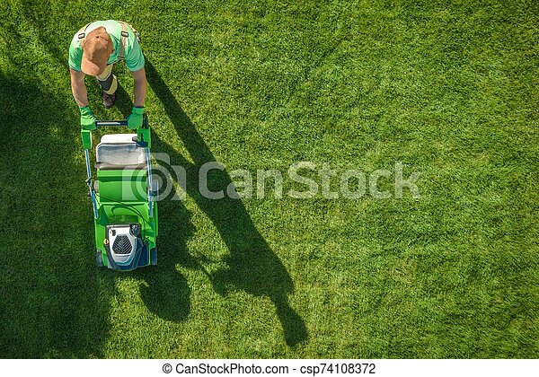 Lawn Moving Aerial Photo - csp74108372