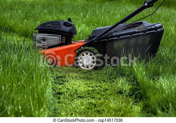 Lawn mower in garden - csp14517036