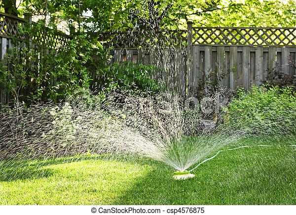 Lawn sprinkler watering grass - csp4576875