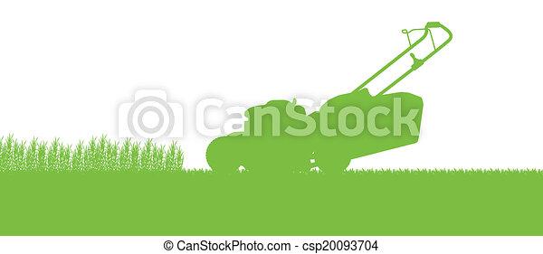 lawnmower, abstratos, ilustração, campo, corte, trator, fundo, capim, paisagem - csp20093704