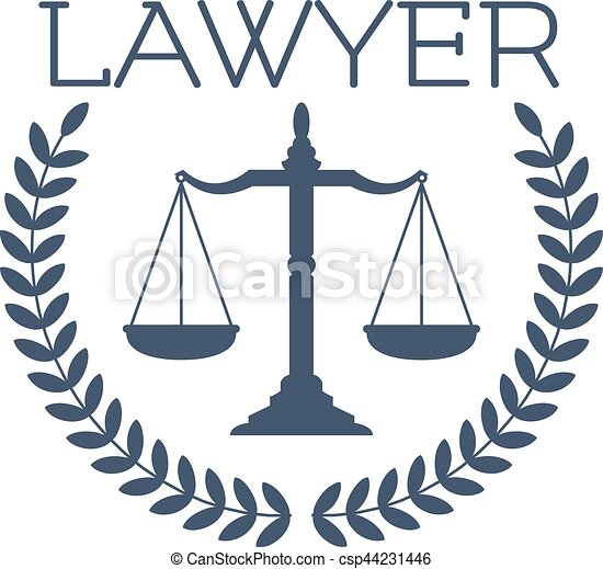 lawyer icon justice scales laurel wreath emblem advocate eps rh canstockphoto com scales of justice vector logo scales of justice logo clip art
