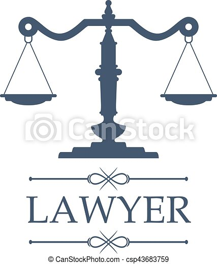 Lawyer icon of Justice scales vector emblem - csp43683759
