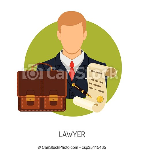 Lawyer Icon with Briefcase - csp35415485