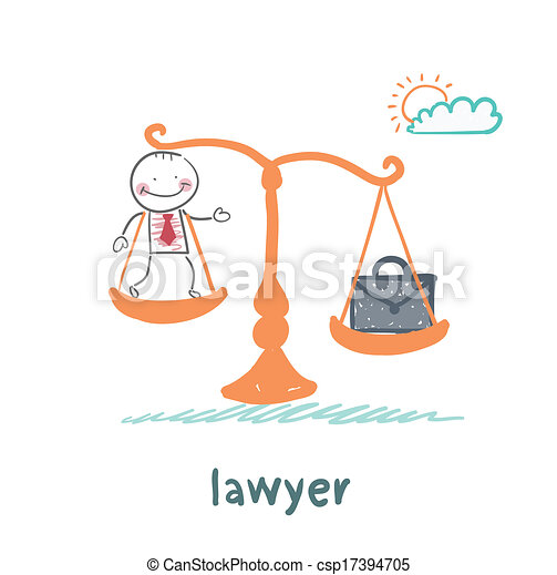 lawyer is on the scales with a suitcase - csp17394705