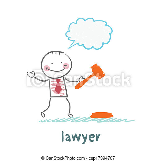 lawyer knocking hammer and thinks - csp17394707