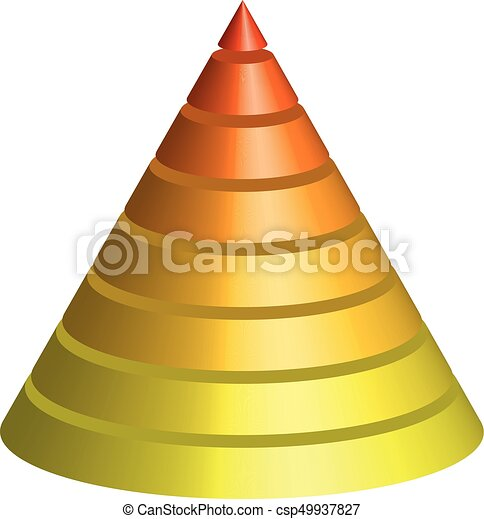 Layered cone. 3D conical pyramid of 8 multicolored layers. Vector illustration - csp49937827