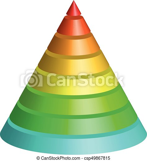 Layered cone. 3D conical pyramid of 8 multicolored rainbow spectrum layers. Vector illustration - csp49867815