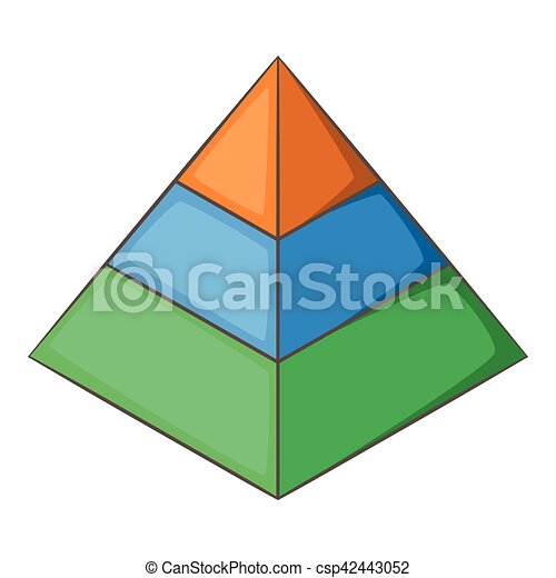 Layered pyramid icon, cartoon style - csp42443052