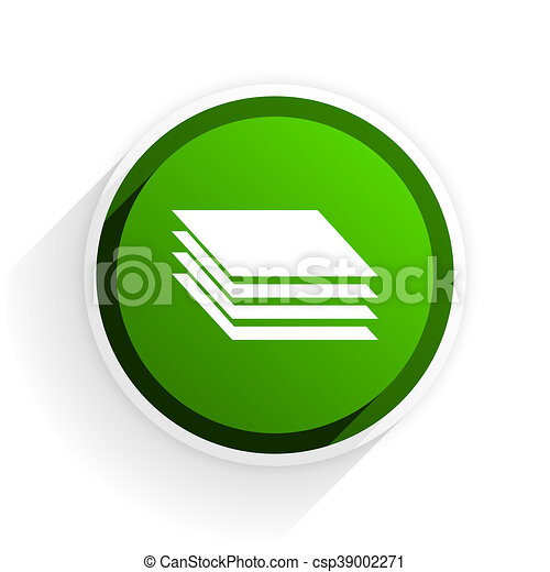 layers flat icon with shadow on white background, green modern design web element - csp39002271