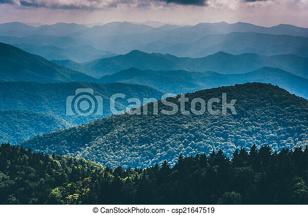 Layers of the Blue Ridge Mountains seen from Cowee Mountains Ove - csp21647519