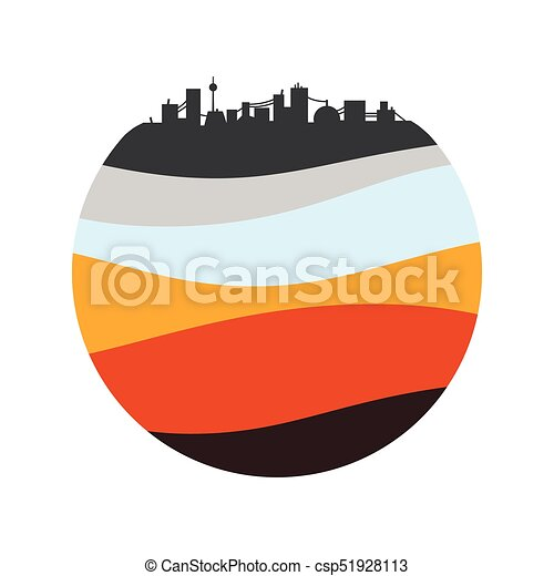 Simple city silhouette. layers of the earth. schematic illustration ...