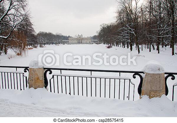 Lazienki Park in winter. - csp28575415