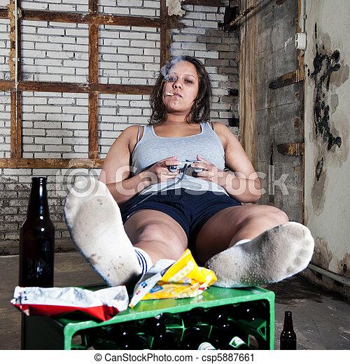 Laziness Lazy Woman Unkempt Room Looking Sleazy