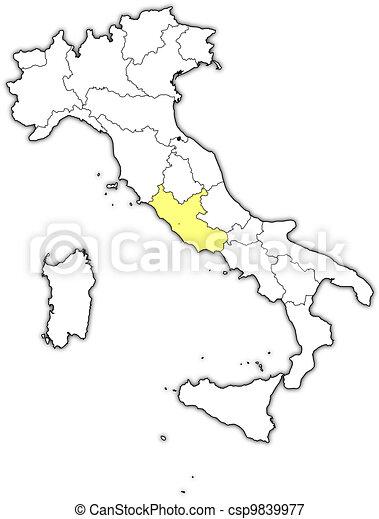 Cartina Lazio Politica.Lazio Mappa Evidenziato Italia