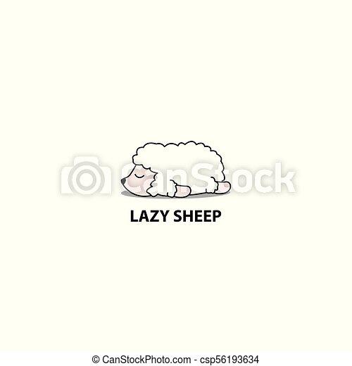 Lazy sheep icon, logo design, vector illustration - csp56193634