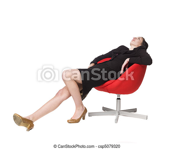 Lazy woman in a chair - csp5079320