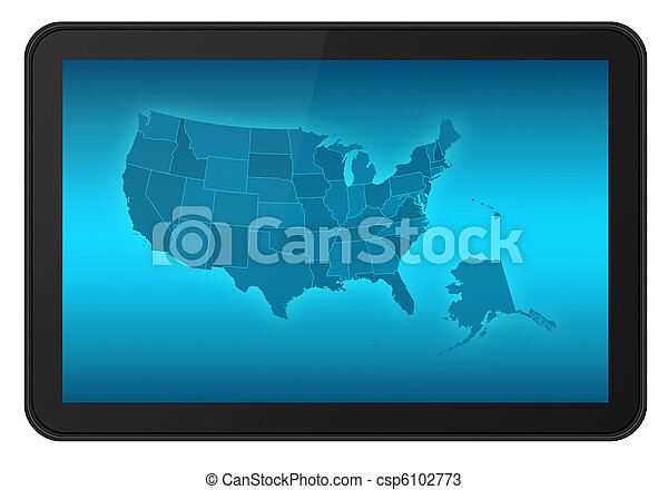 LCD Touch Screen Tablet with USA Map - csp6102773