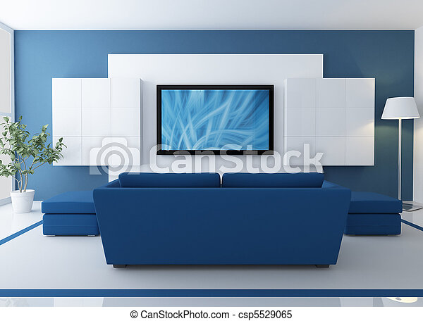 lcd, tv, salotto, blu - csp5529065