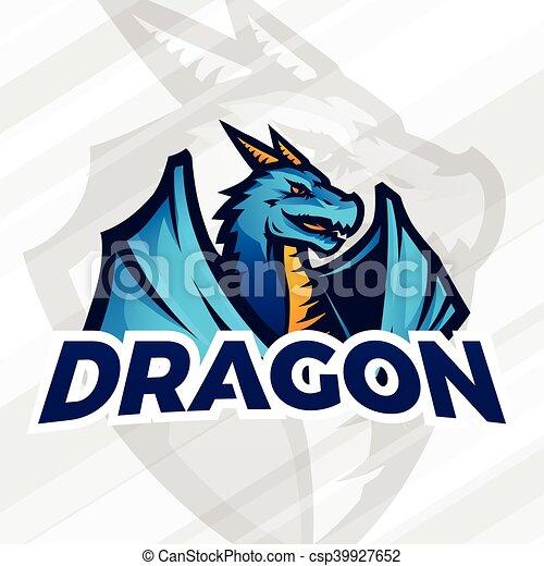 lDragon sport mascot  Football or baseball logotype  College league  insignia, School team vector