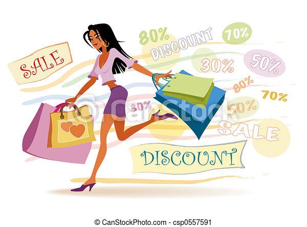 leány, bevásárlás - csp0557591