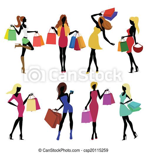 leány, bevásárlás, körvonal - csp20115259