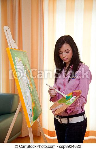 leány, festőállvány, festmény, fiatal - csp3924622