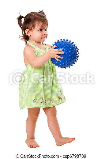 leány, totyogó kisgyerek, labda, boldog - csp6798789