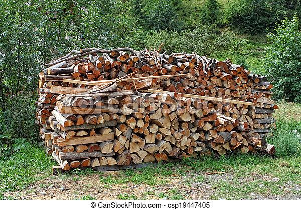 Una pila de leña apilada para secar en la pila de madera en el prado verde - csp19447405