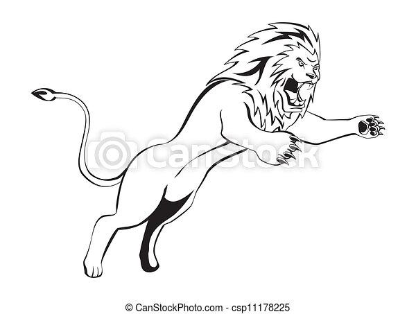 Ataque de león - csp11178225
